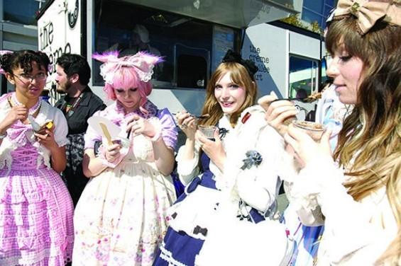 Contestants from last year's Lolita fashion show take a snack break.
