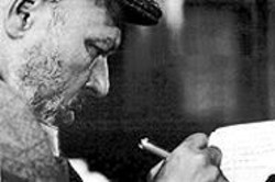 Controversial playwright August Wilson hard at work on one of his 10 plays about black culture in America.
