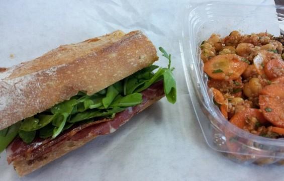 Coppa sandwich and quinoa salad at Heyday. - PETE KANE