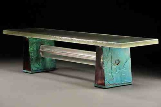 Copper Patina Bench by John Lewis (b.1943), 2009. The bench is cast of glass and copper foil.