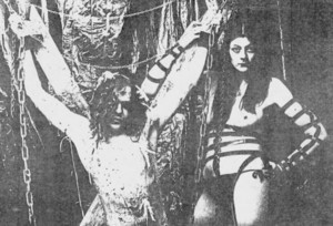 COUM Transmissions performance with Genesis P-Orridge (left) and Cosey Fanni Tutti