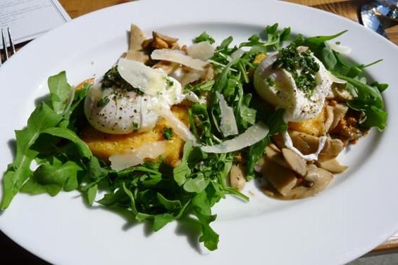 Crispy polenta cakes, poached eggs, wild mushrooms and truffle oil