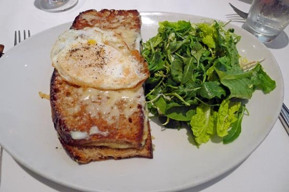Croque Monsieur with Black Forest ham, Gruyere, Dijon mustard, toasted levain, bechamel & mixed greens