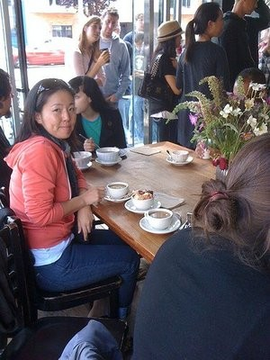 Cult member enjoying a cafe au lait at Tartine. - STEPH W./YELP
