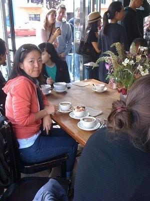 Cult member enjoying a cafe au lait at Tartine. - STEPH W./YELP