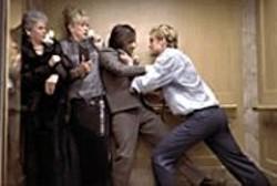 CLAUDETTE  BARIUS - Cutout Characters: Jude Law (right) - attacks Jason Schwartzman.