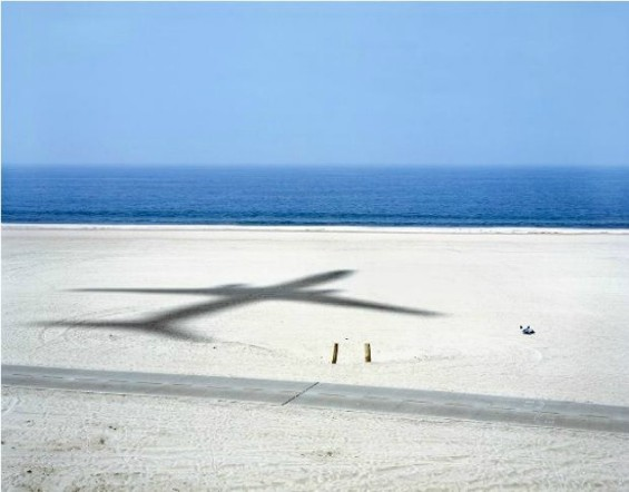 Dad napping on beach, and passing aircraft. Dockweiler State Beach, 2007 - ALEX FRADKIN
