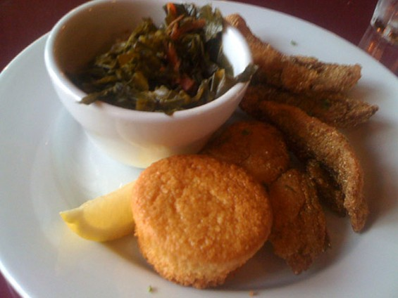 Daddy O's fried catfish and collard greens, $12.95. - JONATHAN KAUFFMAN