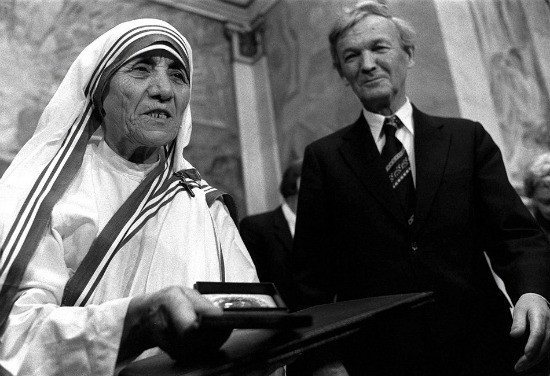 Mother Theresa won the Nobel Peace Prize in 1979 for her work with India's poorest of the poor. - NOBEL PRIZE FOUNDATION ARCHIVES