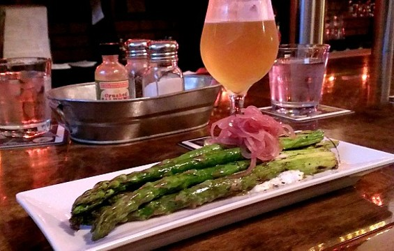 Dark Horse Inn's asparagus with burrata and shallots. - ANASTASIA CROSSON