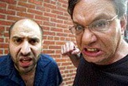 Dave Attell cowers beside the - choleric Lewis Black.