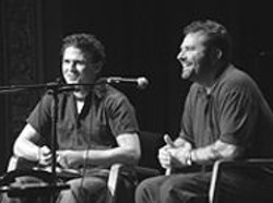 LESLIE  LINNEBUR - Dave Eggers (left) interviews Denis Johnson at a - Campo Santo/Intersection for the Arts benefit.