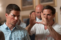 David O. Russell (right) directs Mark Wahlberg in The Fighter.