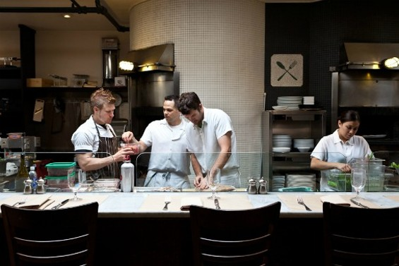 David Taylor leads the team in A16's open kitchen. Left to right: Colin Bado, Taylor, Chris Thompson, Miranda Eckerfield