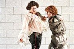 De Sade (Chris Cotone) and addled boy-toy - Jacques Roux (Aaron Brownstein).
