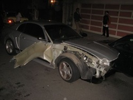 Denina Goldberg's Mustang was worse for wear after an alleged hit-and-run spree