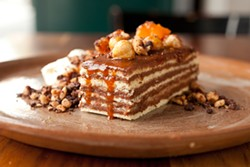 LARA HATA - Dobos torte: Chocolate and hazelnut get covered in caramel.