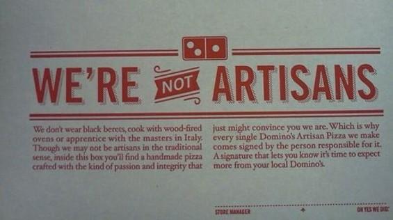 Domino's new artisan pizza. - GRUBGRADE