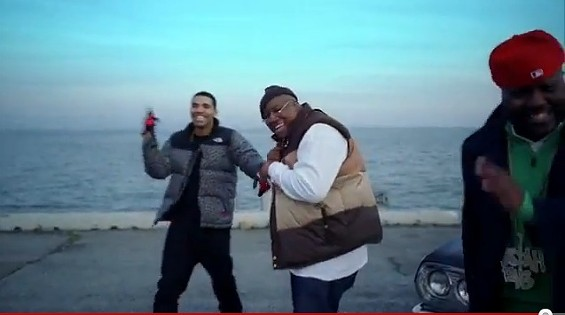 "Drake pals around with E-40 and Mistah F.A.B. in ""The Motto."" - YOUNG MONEY"