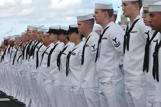 Dressed in their whites ... and hungry. - U.S. NAVY