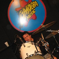 High On Fire at Amoeba Records, SF Drummer Des Kensel puts in work. By David Downs