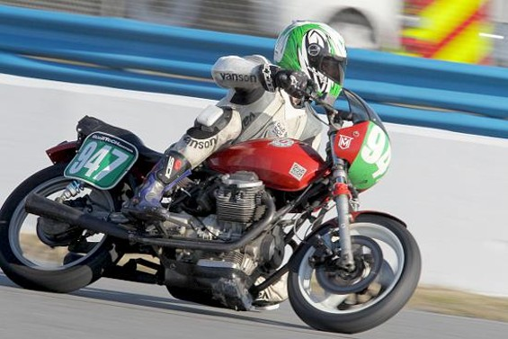 Ed Milich races a Moto Guzzi, of which he has many.