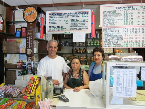 Eddie Sweileh, Maura Mancia and Maria López make the sandwiches at Freddie's - PHOTOS BY W. BLAKE GRAY