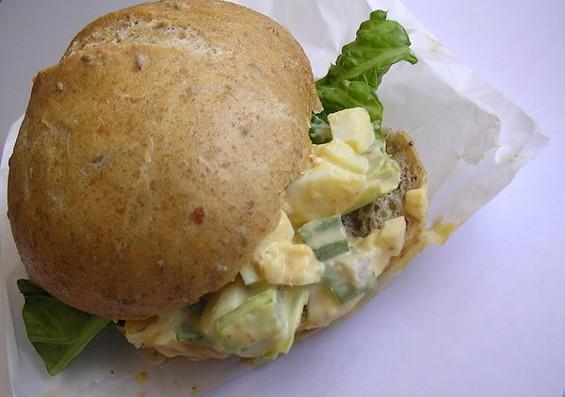 Egg salad sandwich on rye kaiser ($6.50). - JOHN BIRDSALL