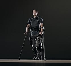 RJ MUNA - Ekso, a 50-pound bionic skeleton, helps the wheelchair-bound walk again.