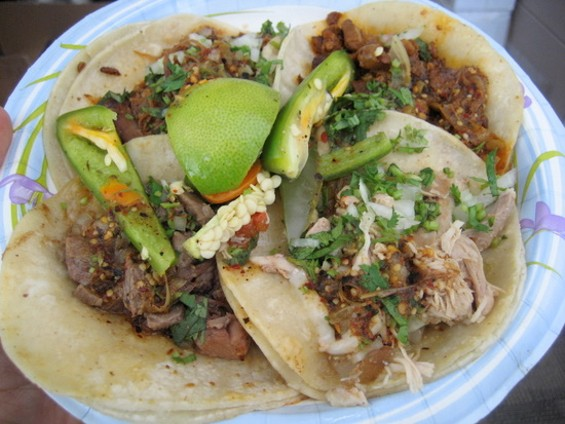El Norteño tacos, clockwise from top left (all $1.50): goat, al pastor, chicken, tongue. - JONATHAN KAUFFMAN