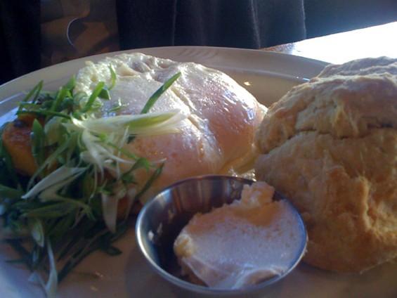 Ella's fried cornmeal and sunny-side-up eggs, $10.75. - J. KAUFFMAN
