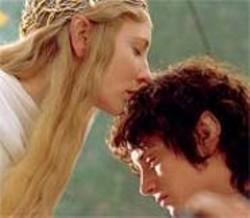 PIERRE  VINET - Elves in love: Cate Blanchett, as Galadriel, speaks in tongues to Elijah Wood's hobbit, Frodo Baggins.