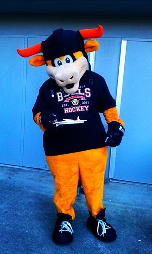 Even Rawhide the team mascot enjoys his pancakes... - JOE ESKENAZI