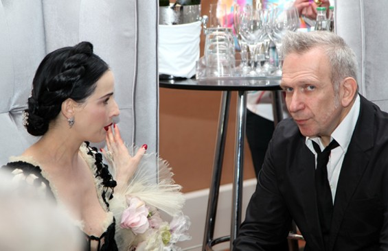Fashion icons Dita Von Teese and Jean Paul Gaultier celebrate Gaultier's exhibition at La Grande Fete on Friday at the de Young Museum. - KATE CONGER