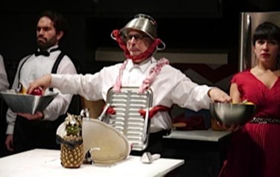 Father Ubu (standing c, David Sinaiko)  in The Cutting Ball Theater's production of Ubu Roi. - PHOTO TATIANA KARPEKINA