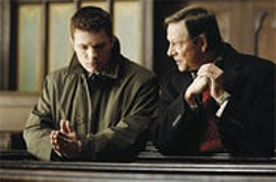 MICHAEL  GIBSON - FBI trainee Eric O'Neill (Ryan Phillippe) is lectured by suspected spy Robert Hanssen (Chris Cooper) in the thriller Breach.