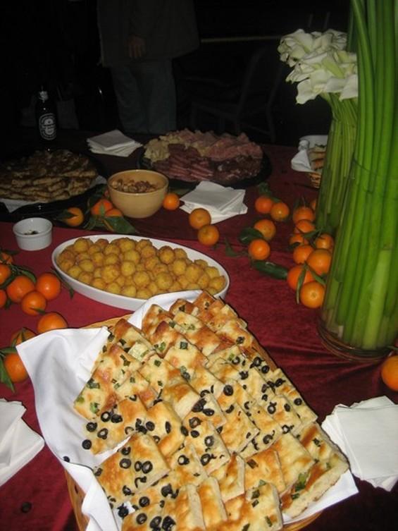 Focaccia, tangerines: It was grazing lite, North Beach-style. - M. LADD