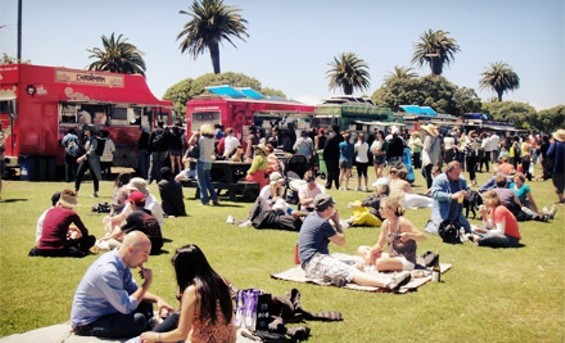 Food trucks on Treasure Island's Great Lawn - COURTESY OF THE TREASURE ISLAND FLEA MARKET