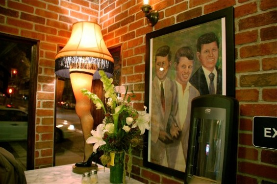 """""""Fragile...must be Italian."""" This lascivious leg lamp (along with the brothers Kennedy) greet you, just as they do at other Artichoke locations. - PETE KANE"""