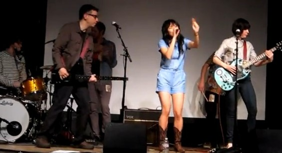 Fred, Thao, and Carrie onstage in S.F.