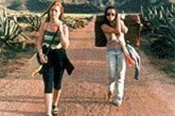 GAUTIER DE BLONDE - Free Range Chicks: Lanna (Kathleen McDermott) and - Morvern Callar (Samantha Morton) in the middle of - nowhere, Spain.