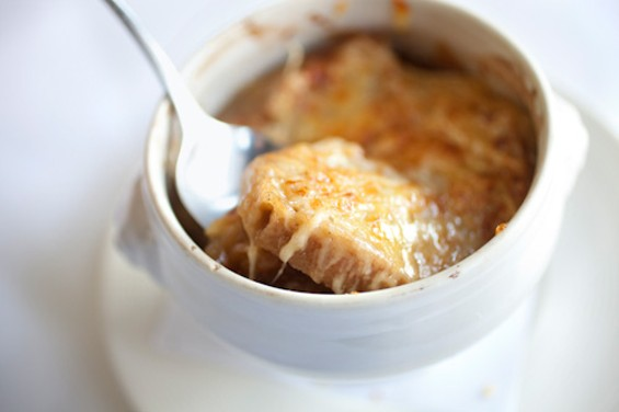 French onion soup, a middling classic at Cafe des Amis. - LARA HATA/SF WEEKLY