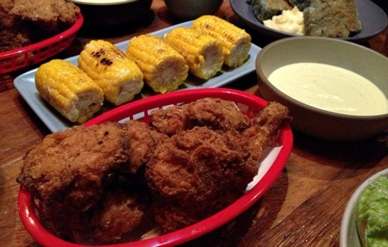 Fried chicken, corn on the cob, mashed potatoes, and deliciousness at Rich Table. - ANNA ROTH
