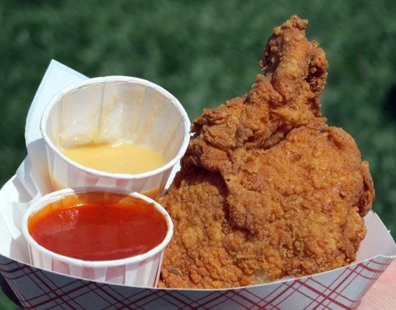 Fried chicken from Wing Wings drew huge lines, but it was well-worth the wait. - LOU BUSTAMANTE