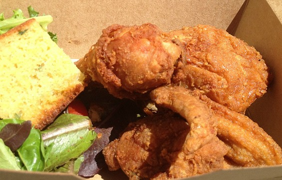 Fried chicken take-out for lunch at Little Skillet. - CHRISTINA SPITTLER