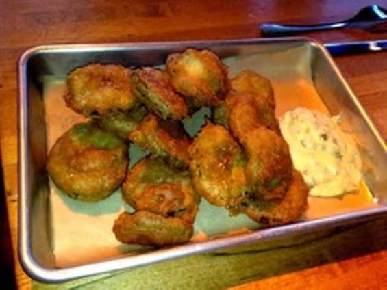 Fried pickles are rare around these parts. - ALEX HOCHMAN