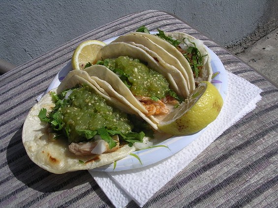 From left, carnitas, chicken, and carne asada tacos, $1.75 each. - JOHN BIRDSALL