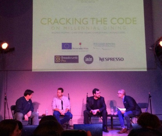 From left: Charles Phan (Slanted Door), Laurence Jossel (Nopa), Christophe Tassan (The Battery), and Andrew Freeman the moderator.