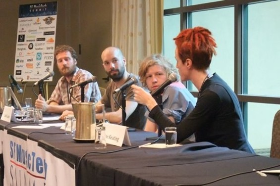 From left, J Sider of RootMusic, Jack Conte of Pomplamoose, Lincoln Parish of Cage the Elephant, and cellist Zoe Keating