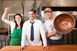 KIMBERLY SANDIE - (From left): Mandy Harper (Wholesome Bakery), Jaime Maldonado (La Victoria), and Roger Feely (Soul Cocina) join forces indoors.